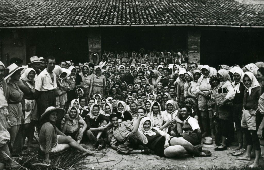 Gruppo di mondine e braccianti ritratto durante un momento di pausa