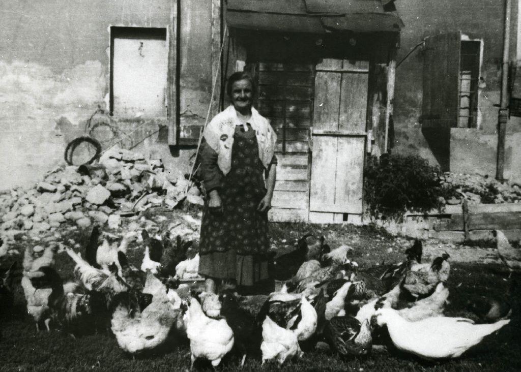 Venusta Landini ripresa nell'aia della sua casa rurale tra galli e galline