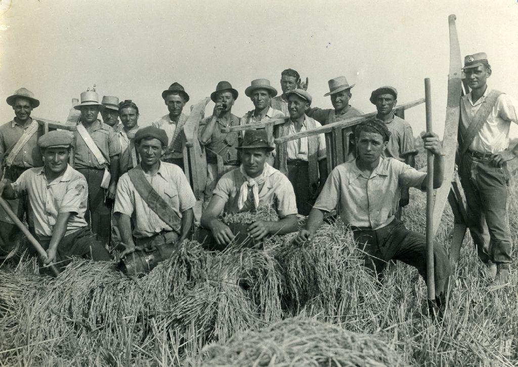 Gruppo di braccianti della Cooperativa Lavoratori della terra di Bentivoglio (BO)