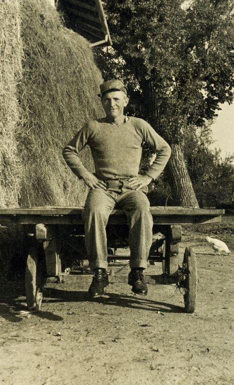 Musiani Adelmo, nato a Calderara di Reno l'11.02.1906, seduto su un carro